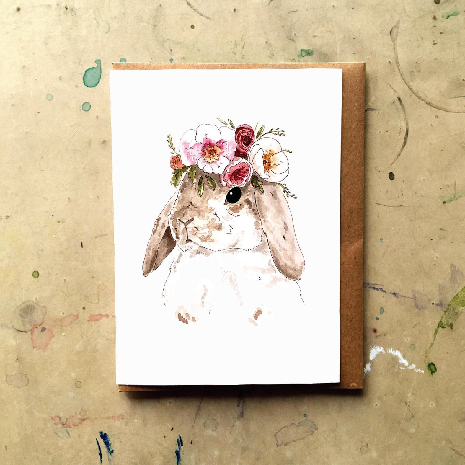 Brown Flower Bunny Card