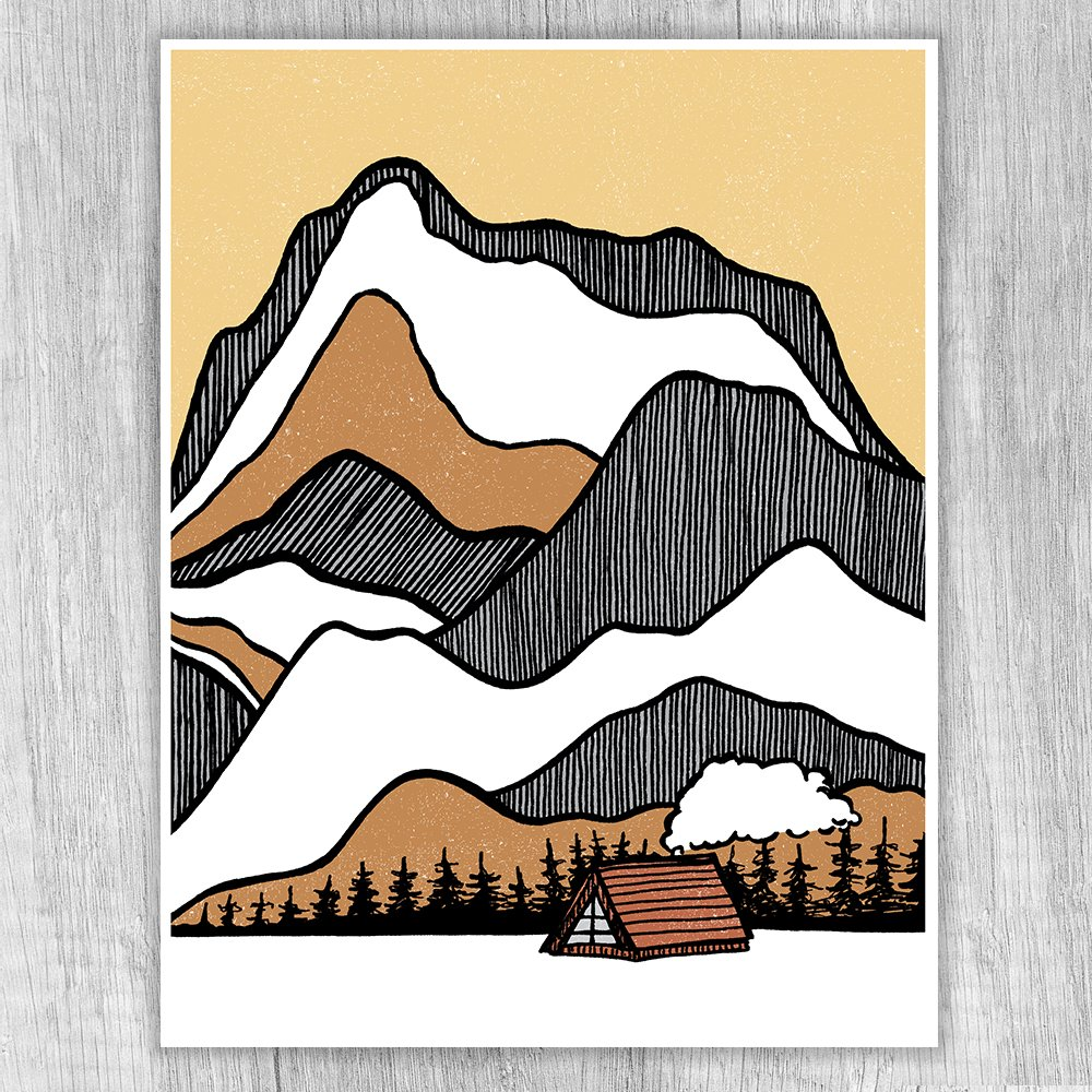 Cabin At The Base Print