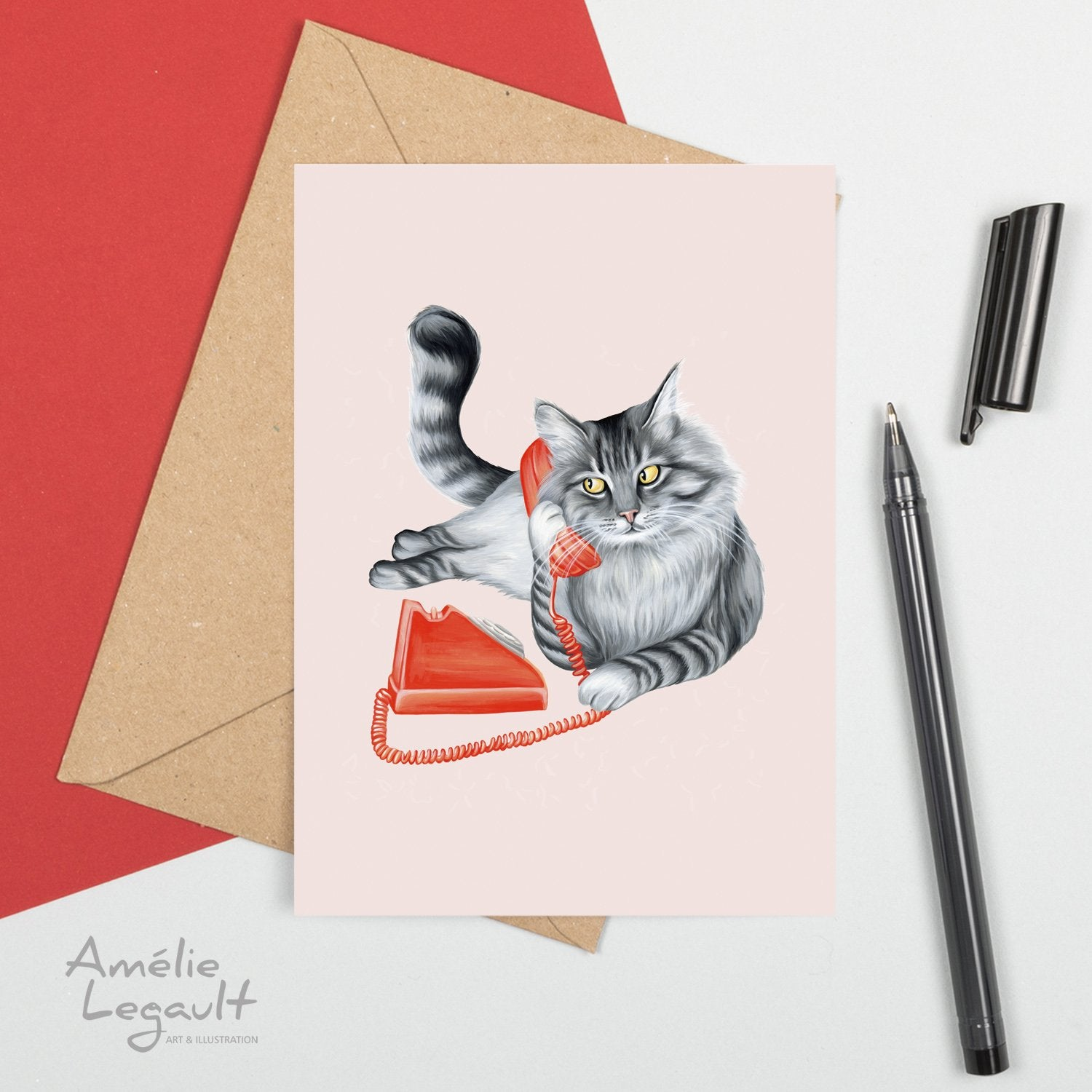 Cat On The Phone Card