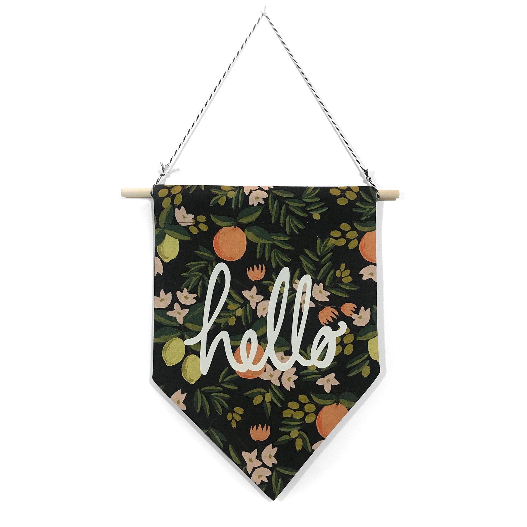 soft flirt x Spruce Moose Banner - Hello on Citrus Floral - Dark