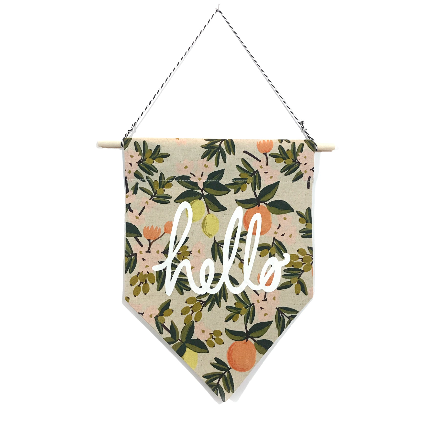 soft flirt x Spruce Moose Banner - Hello on Citrus Floral - Light