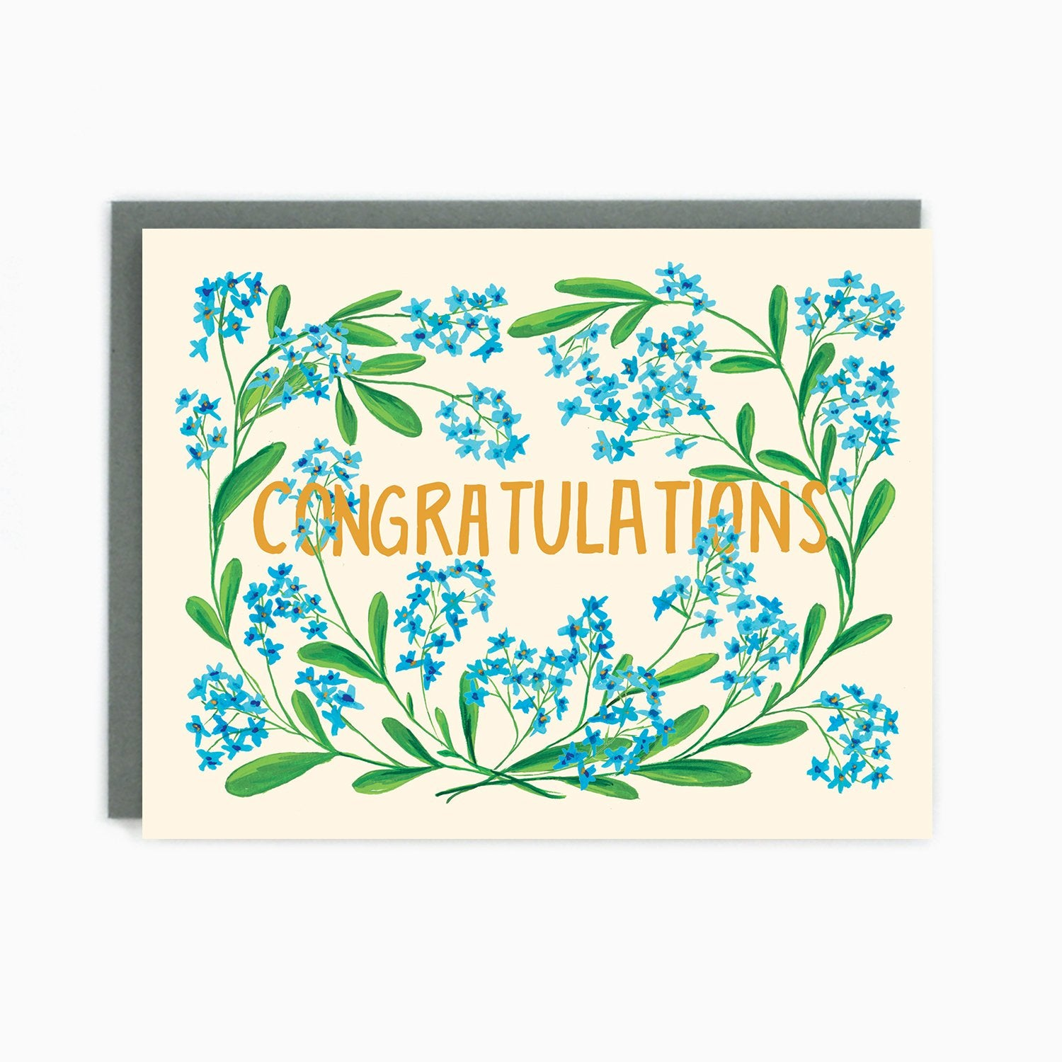 Congratulations Blue Flowers Card