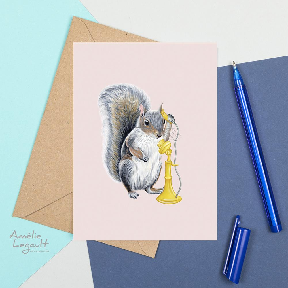 Squirrel On The Phone Card