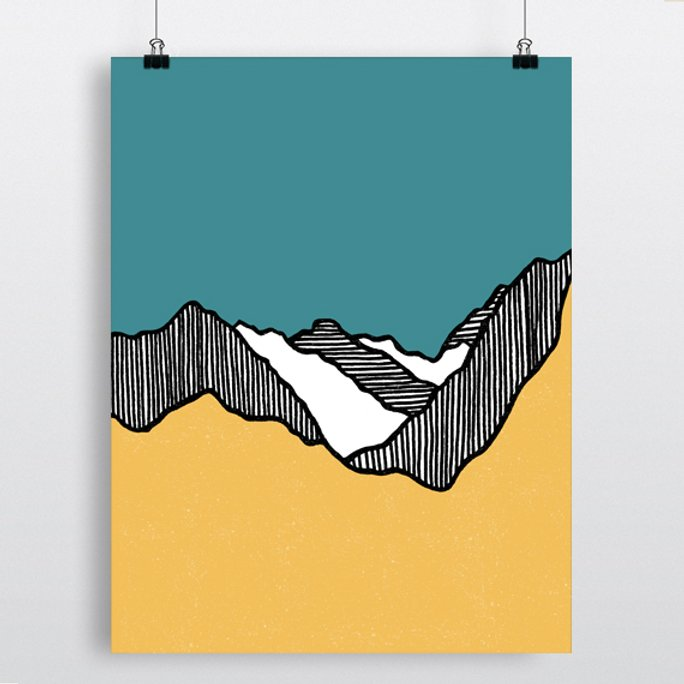 Fault Lines Print - Yellow & Blue