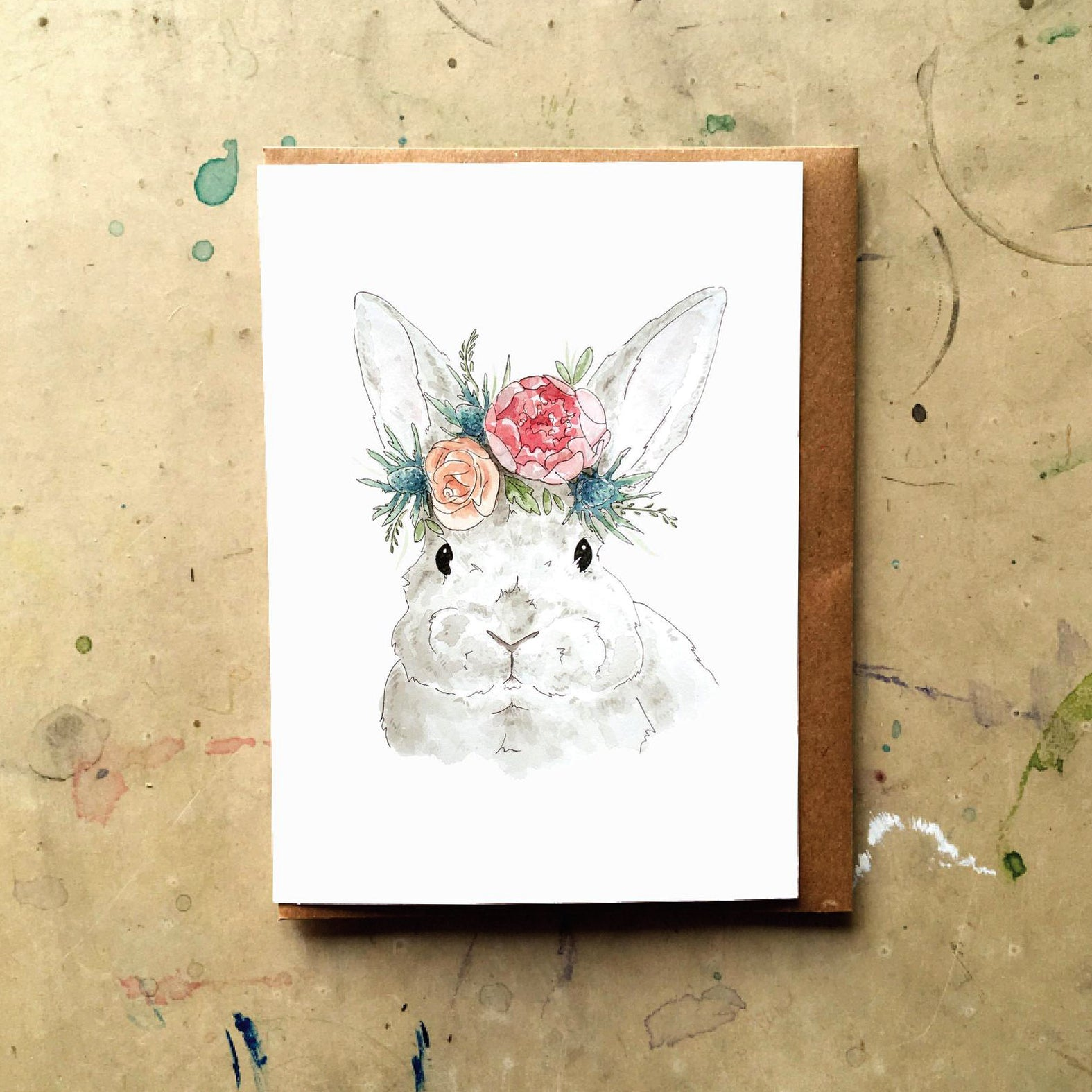 Grey Flower Bunny Card