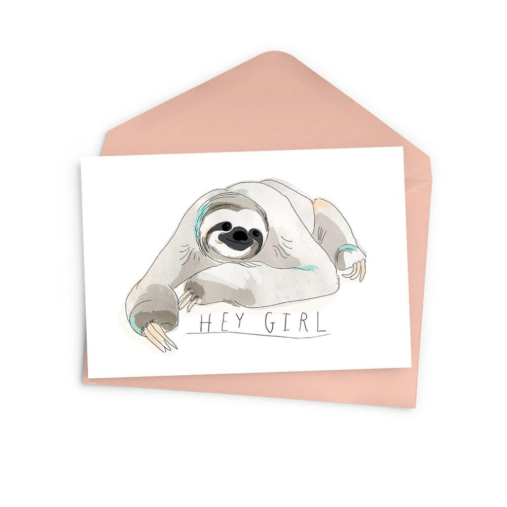 Hey Girl Sloth Card