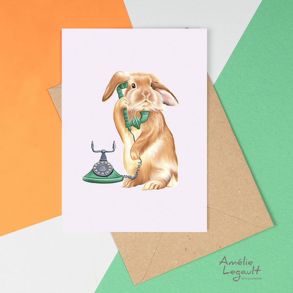 Rabbit On The Phone Card