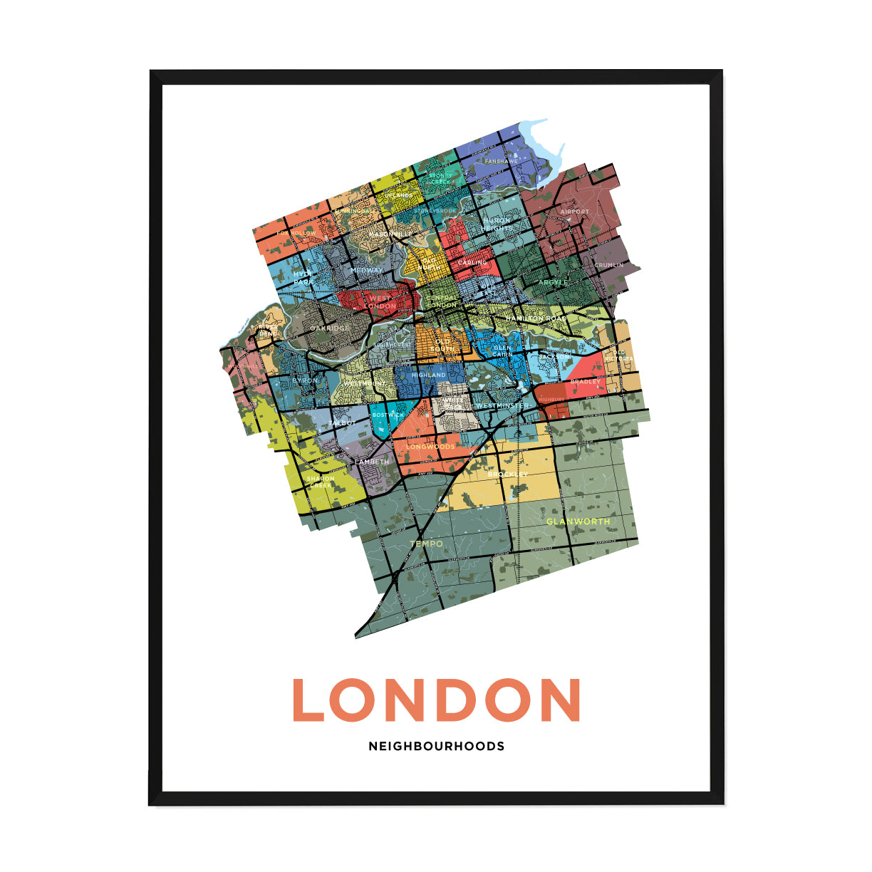 <i>*PICKUP ONLY*</i><br>London Neighbourhoods Map Print