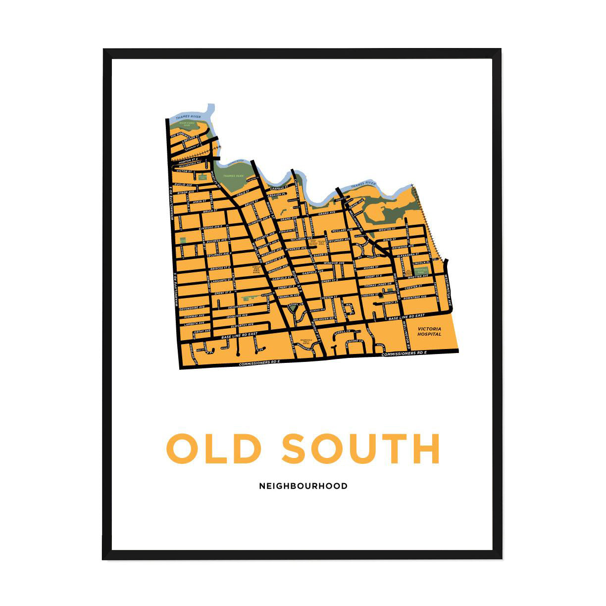 <i>*PICKUP ONLY*</i><br>Old South Neighbourhood Map Print