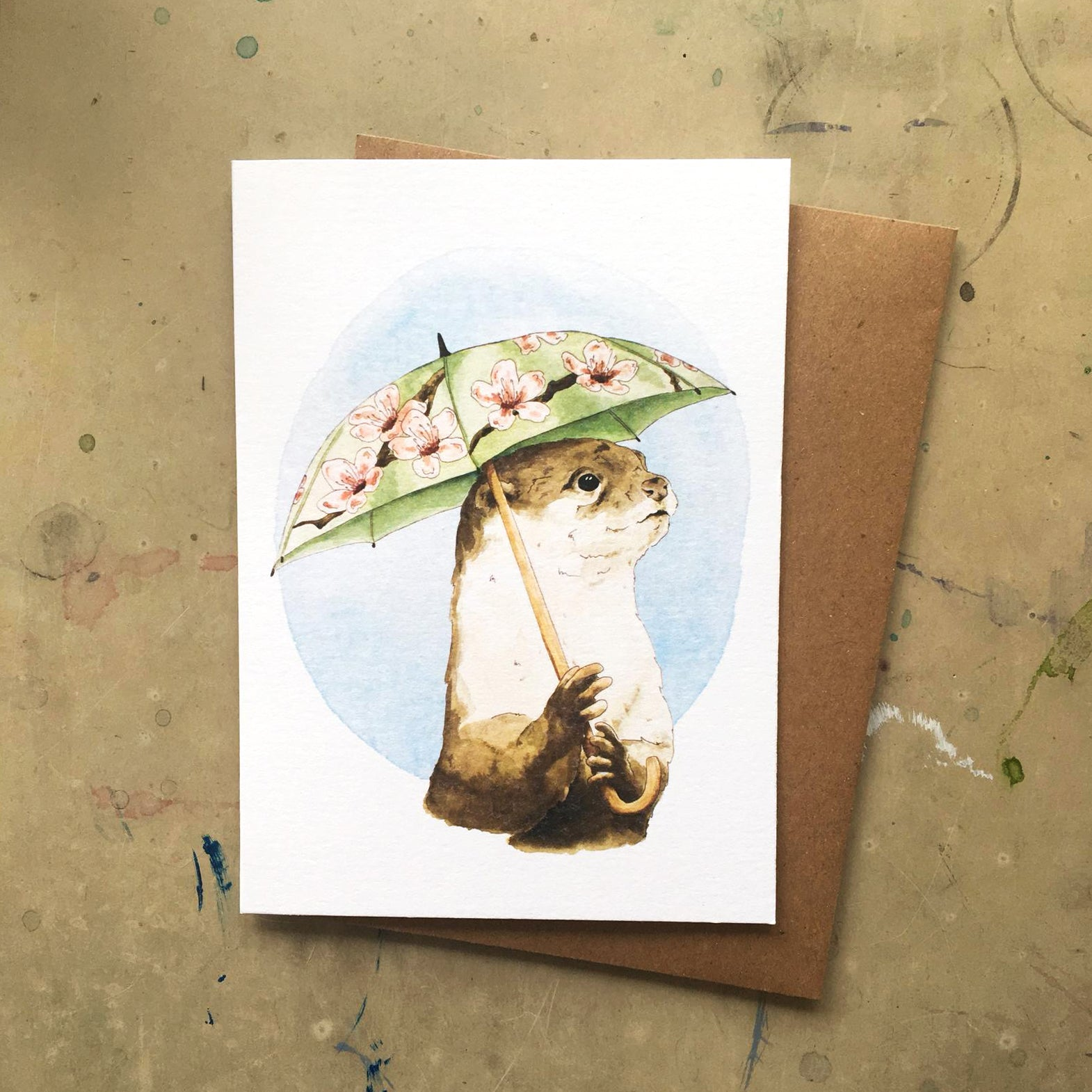 Otter with Umbrella Card
