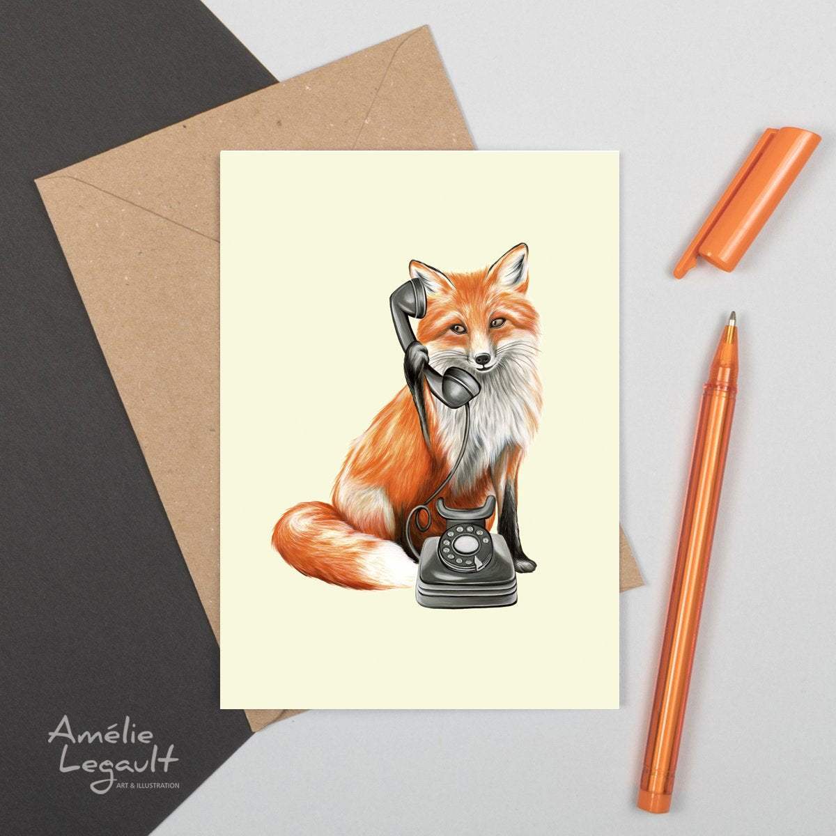 Fox On The Phone Card