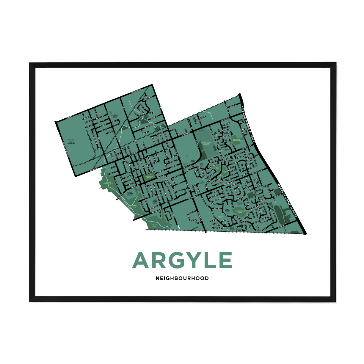 <i>*PICKUP ONLY*</i><br>Argyle Neighbourhood Map Print