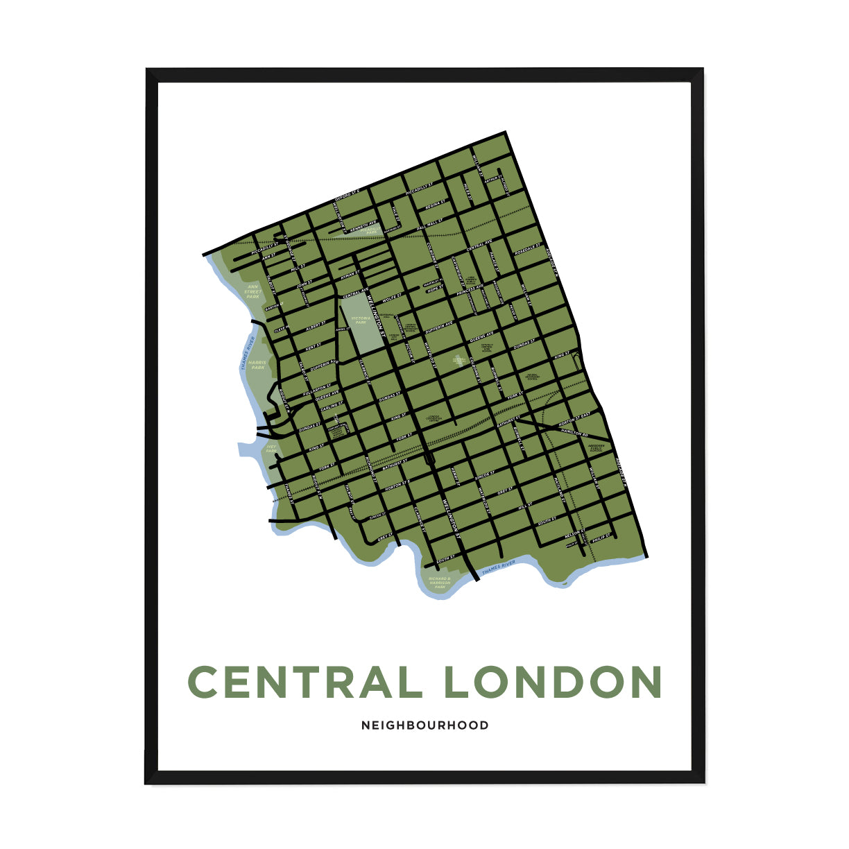 <i>*PICKUP ONLY*</i><br>Central London Neighbourhood Map Print