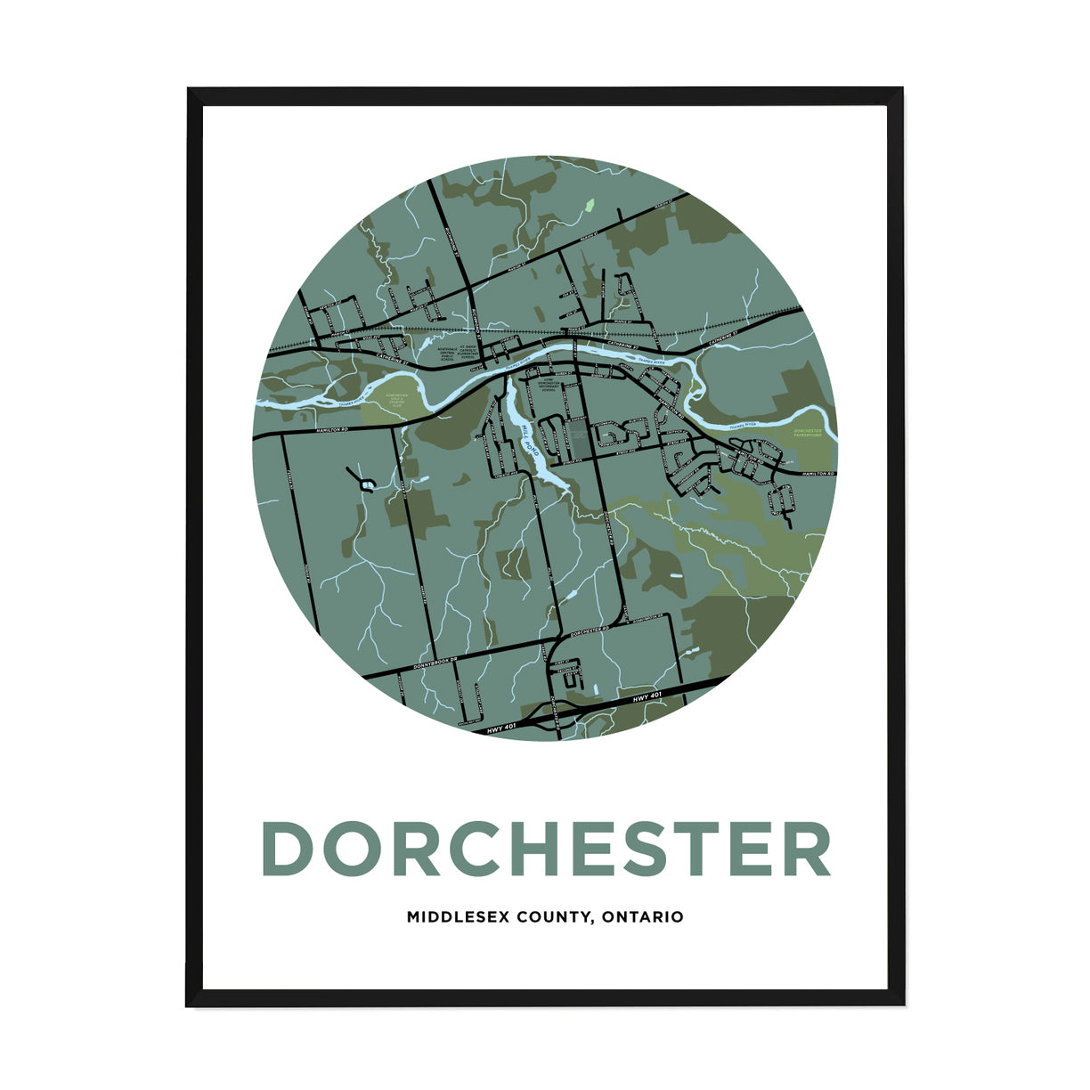 <i>*PICKUP ONLY*</i><br>Dorchester Map Print