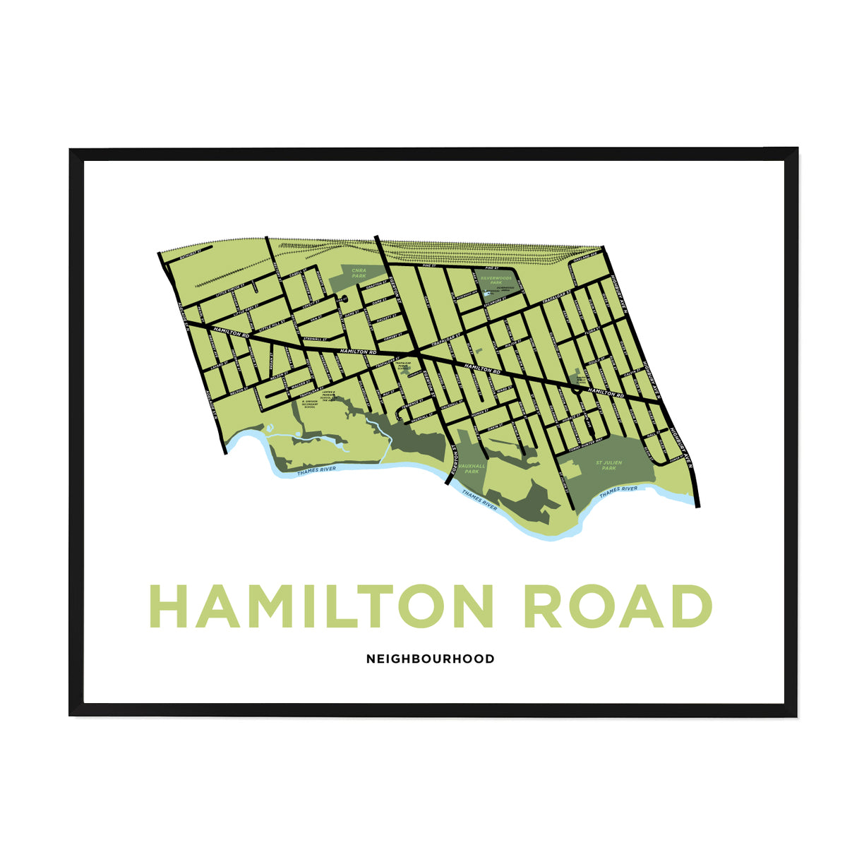 <i>*PICKUP ONLY*</i><br>Hamilton Road Neighbourhood Map Print