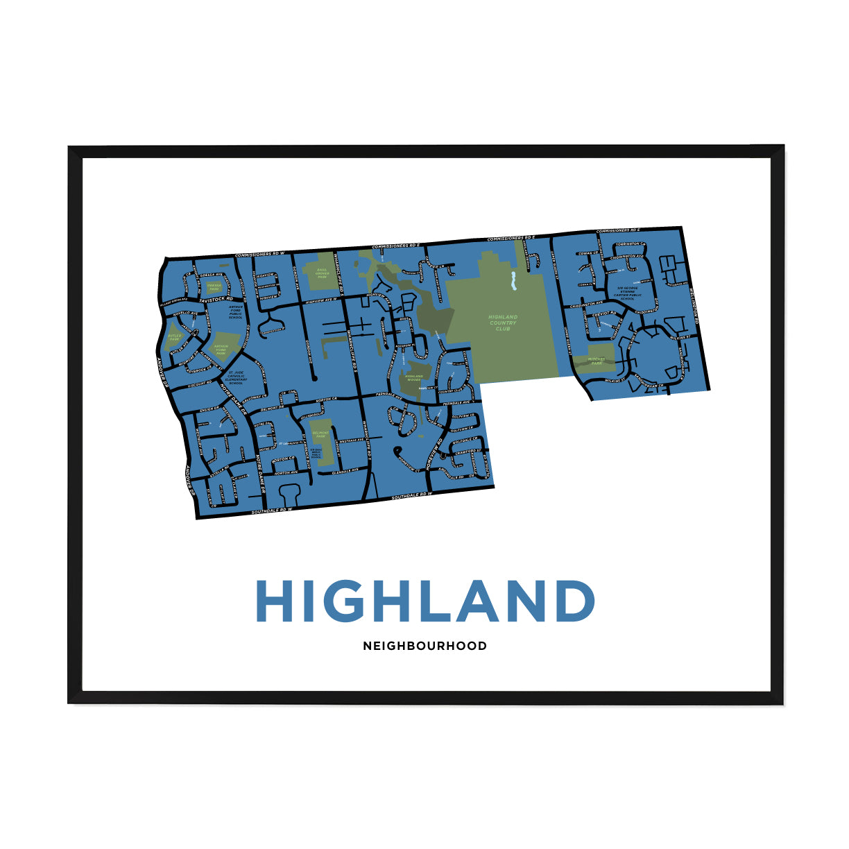 <i>*PICKUP ONLY*</i><br>Highland Neighbourhood Map Print