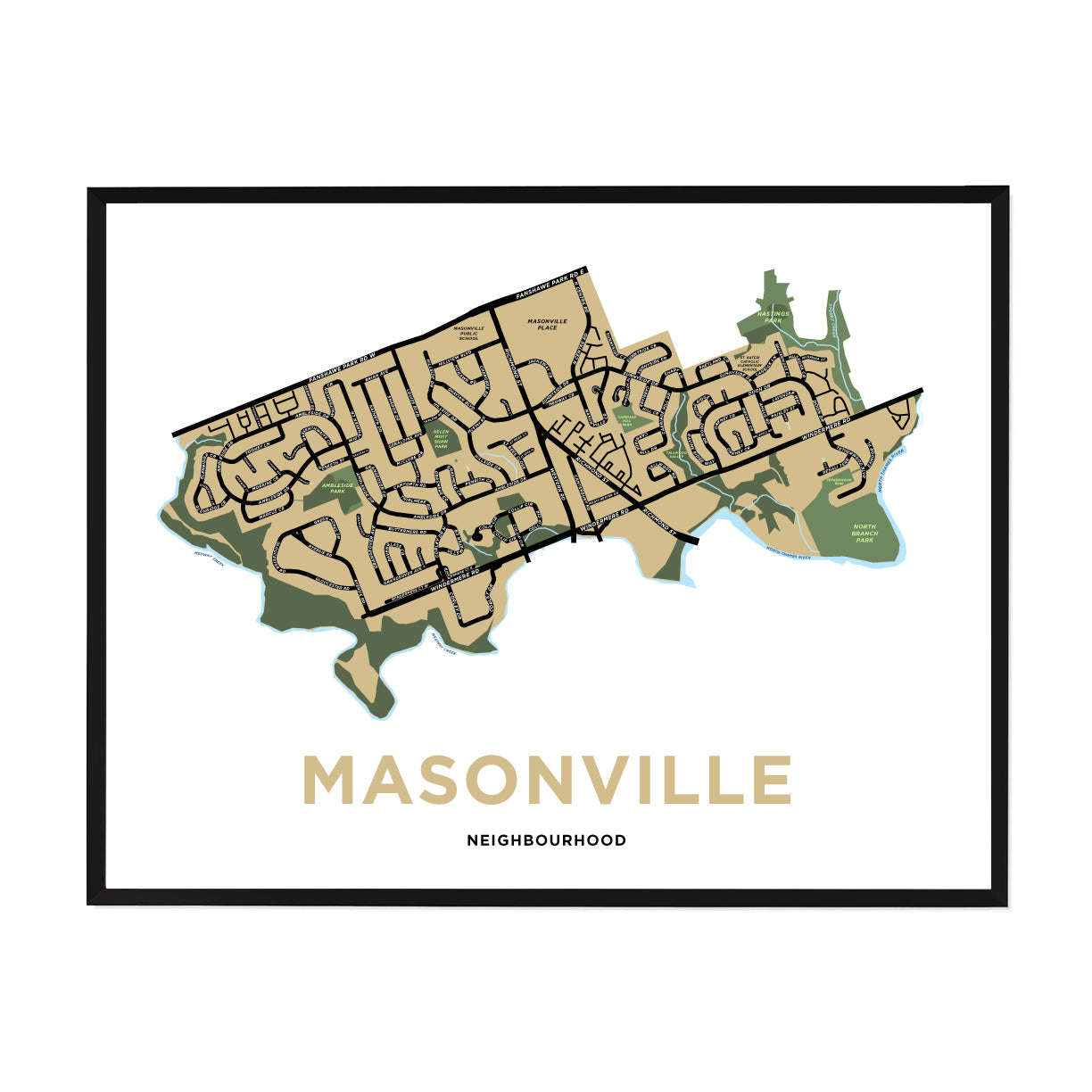 <i>*PICKUP ONLY*</i><br>Masonville Neighbourhood Map Print