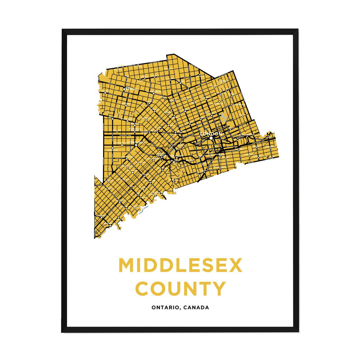 <i>*PICKUP ONLY*</i><br>Middlesex County Map Print