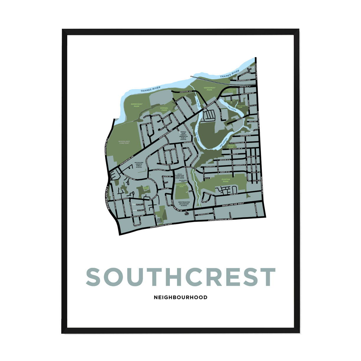 <i>*PICKUP ONLY*</i><br>Southcrest Neighbourhood Map Print