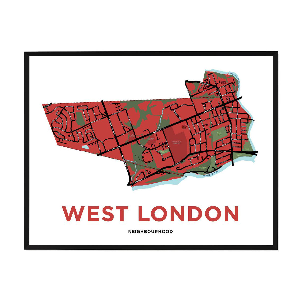 <i>*PICKUP ONLY*</i><br>West London Neighbourhood Map Print