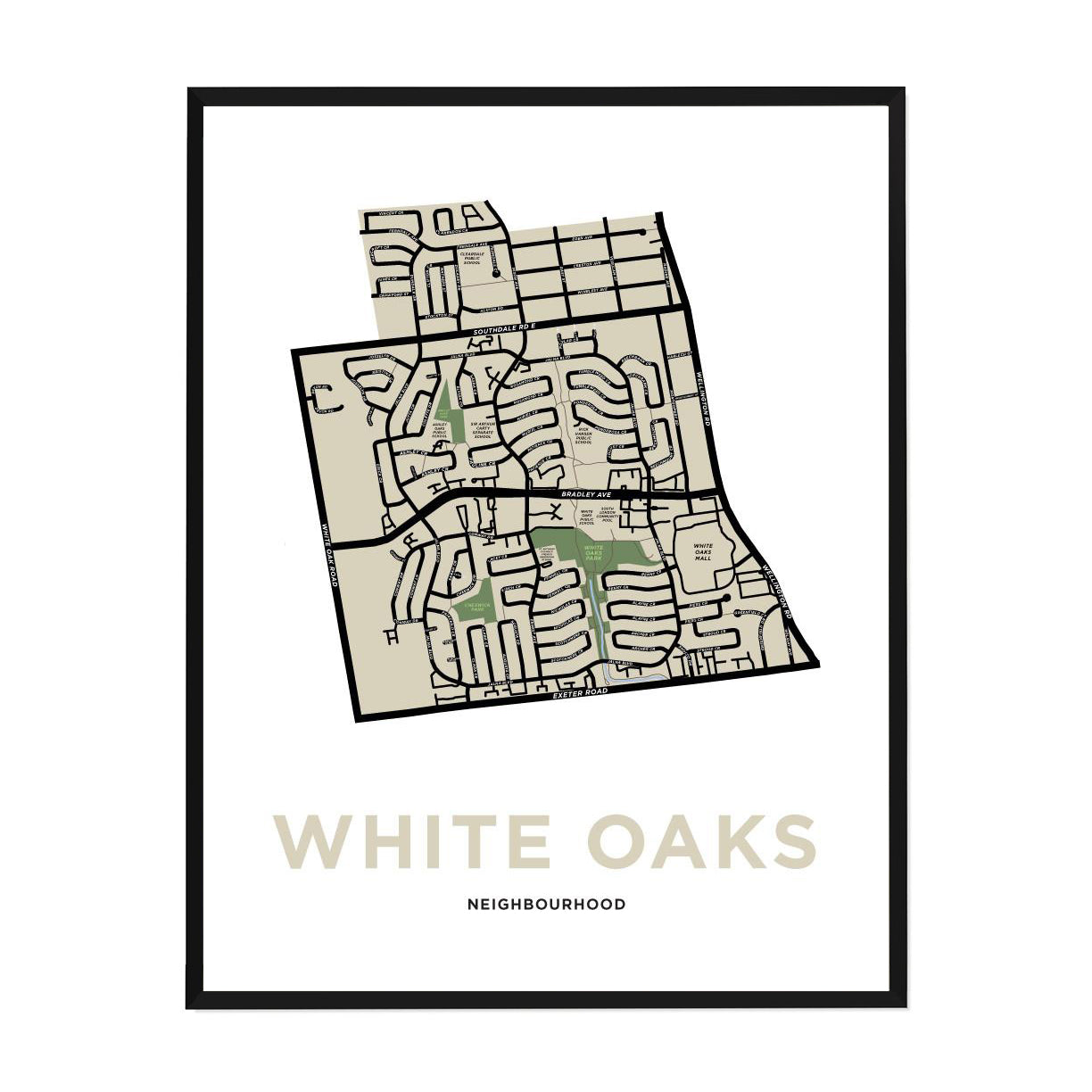 <i>*PICKUP ONLY*</i><br>White Oaks Neighbourhood Map Print