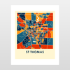 St Thomas Map Print