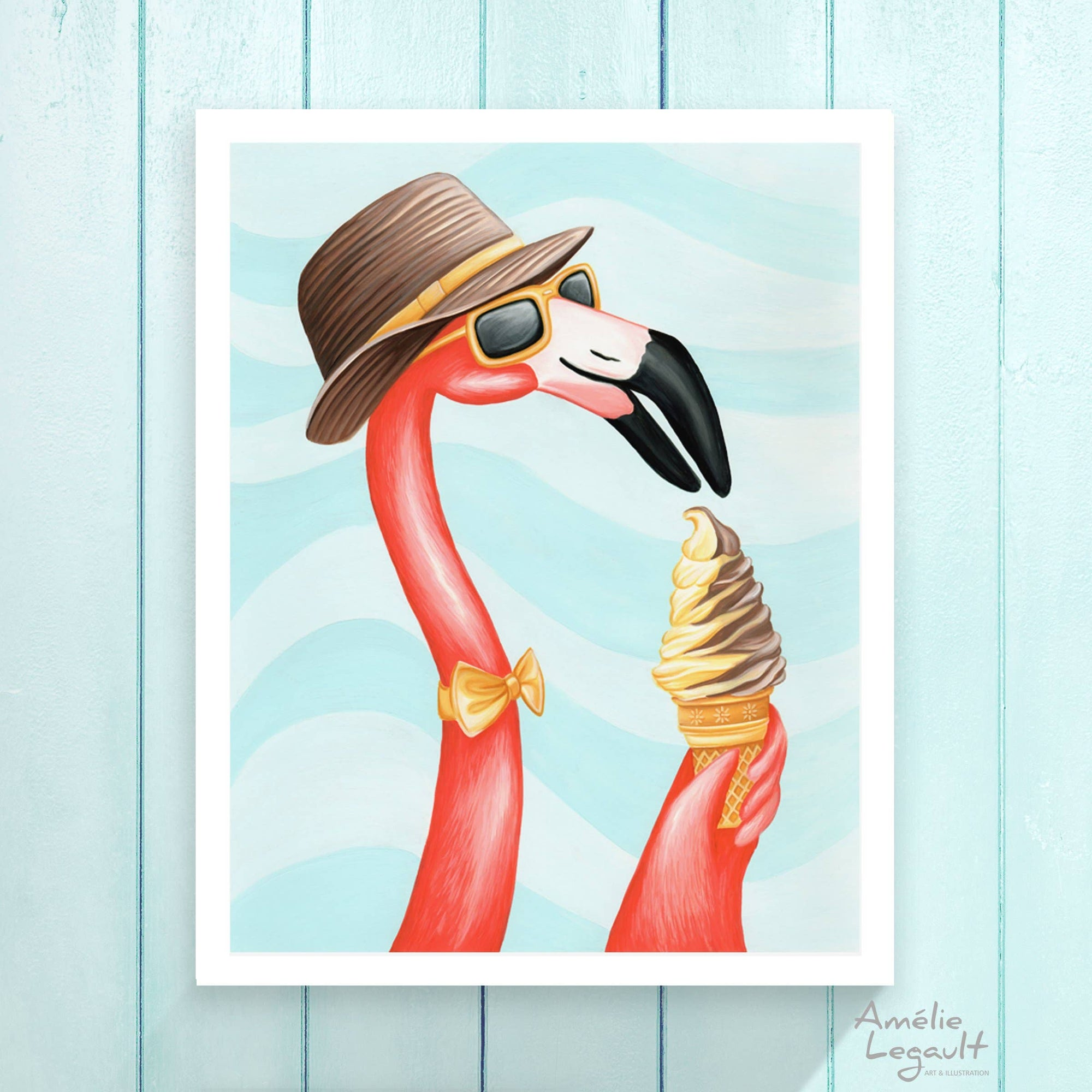 Pink Flamingo with Ice Cream Cone Print