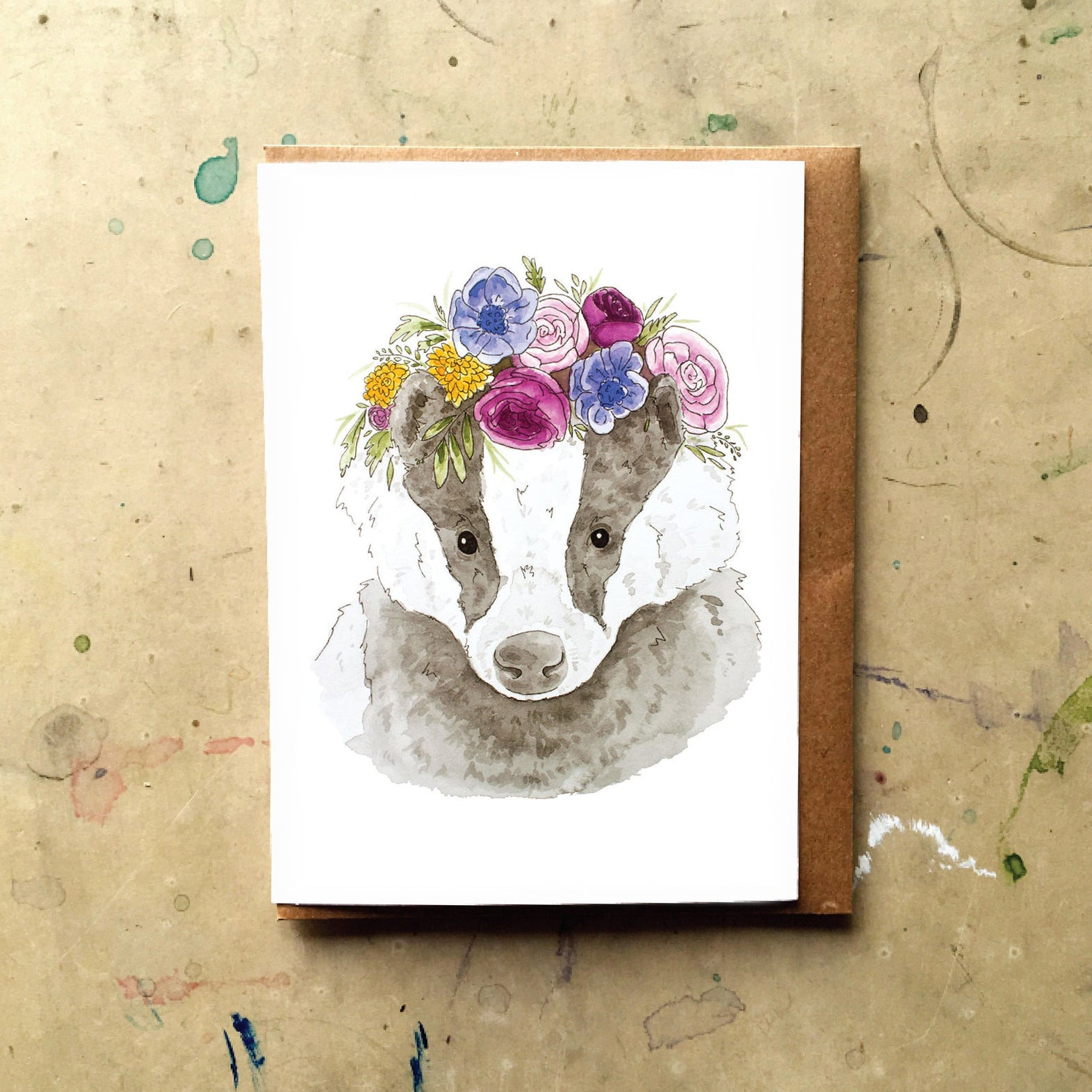 Badger with Flower Crown Card