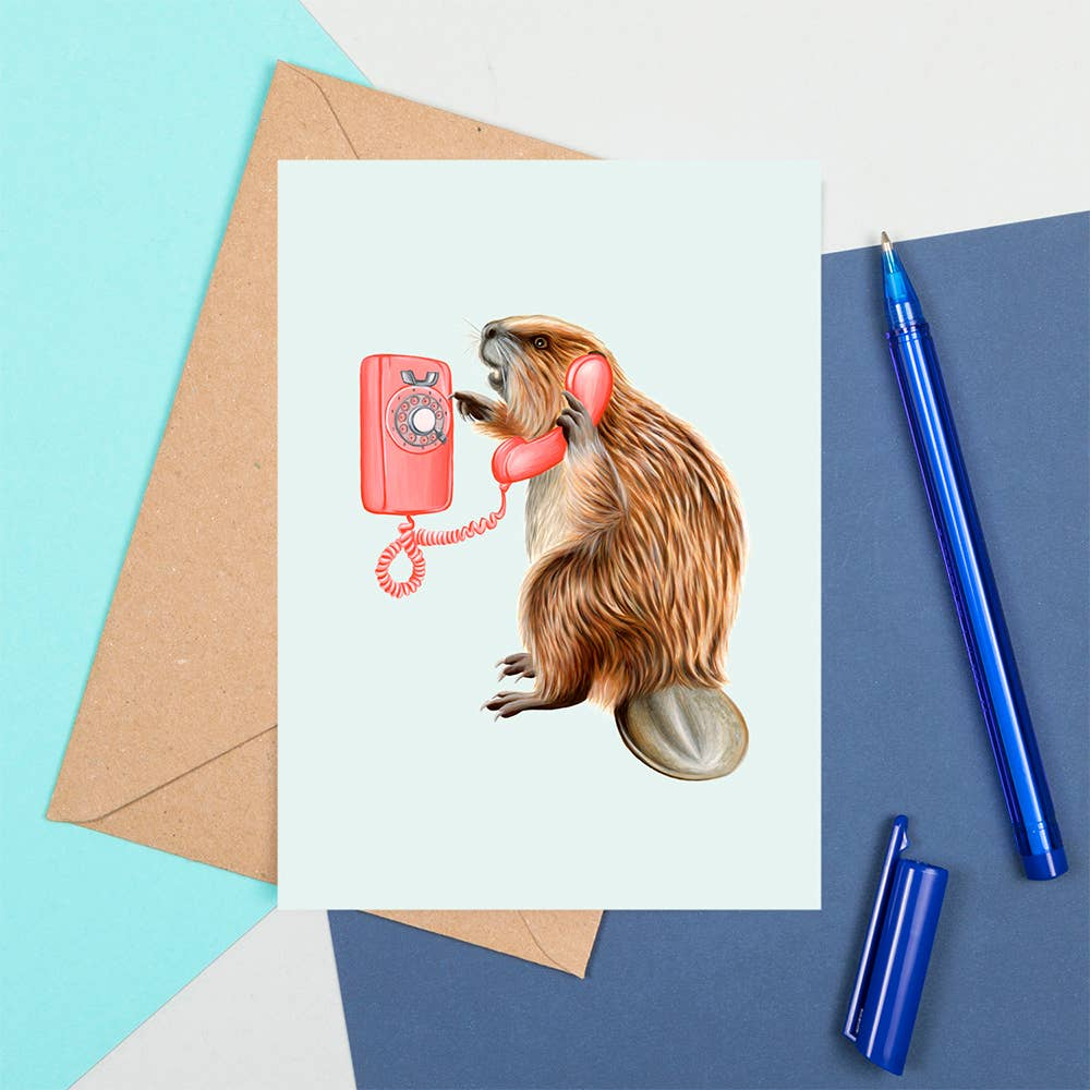 Beaver On The Phone Card