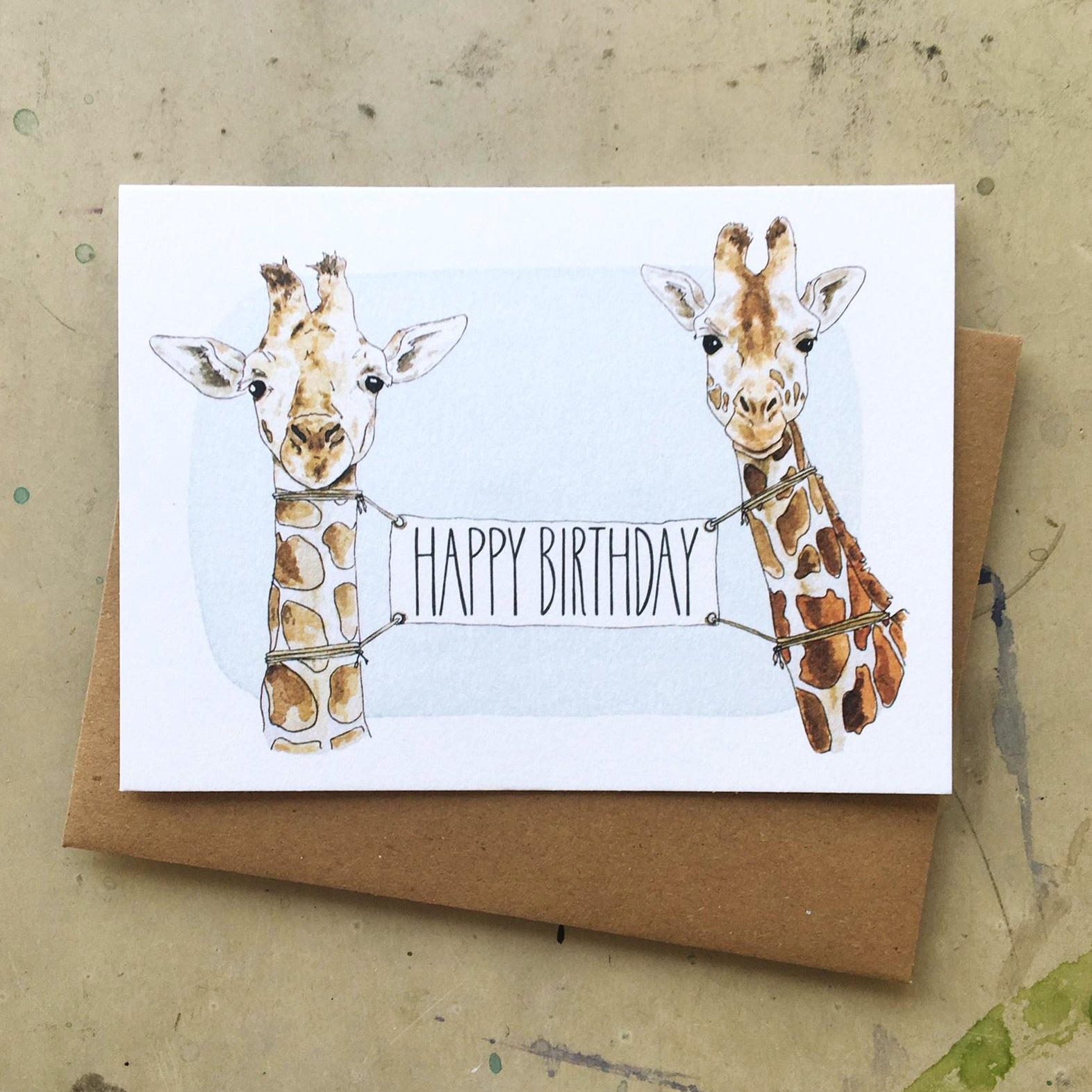 Giraffe Birthday Banner Card