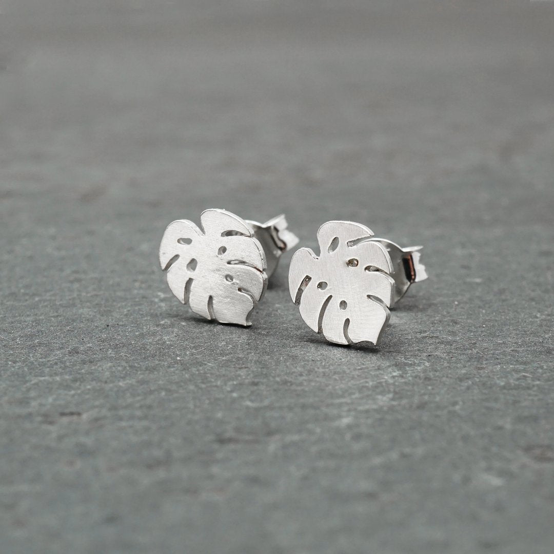 Monstera Sterling Silver Studs