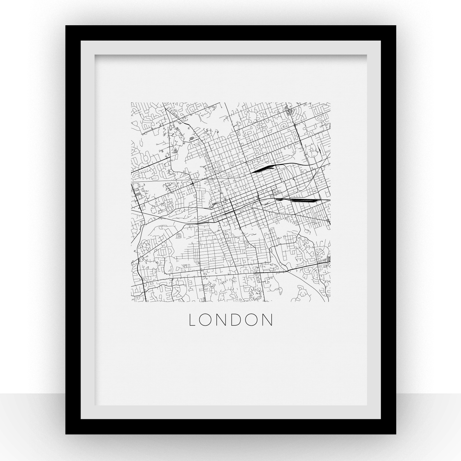 London Map Print - B&W