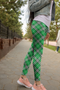 Green plaid leggings, Capris and Shorts