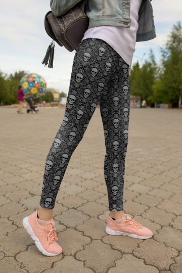 Tiny Gray Skull leggings, Capris and Shorts