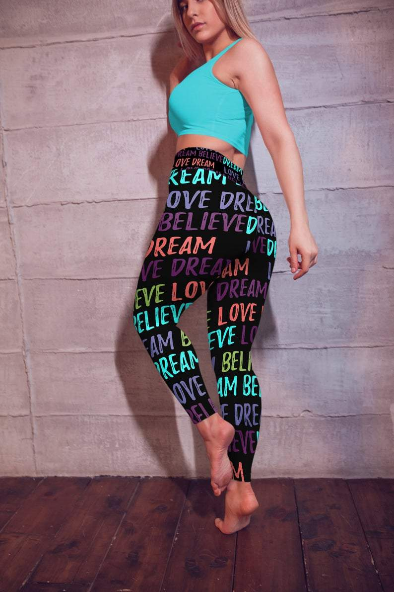 Love, Dream, Believe leggings, Capris and Shorts freeshipping - PuaGme