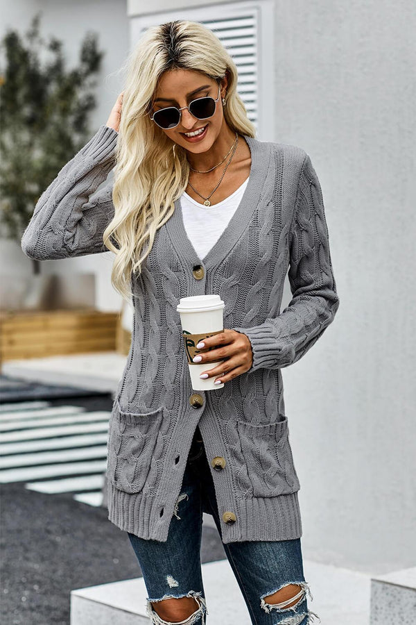 Gray Button Pocket Winter Knit Cardigan