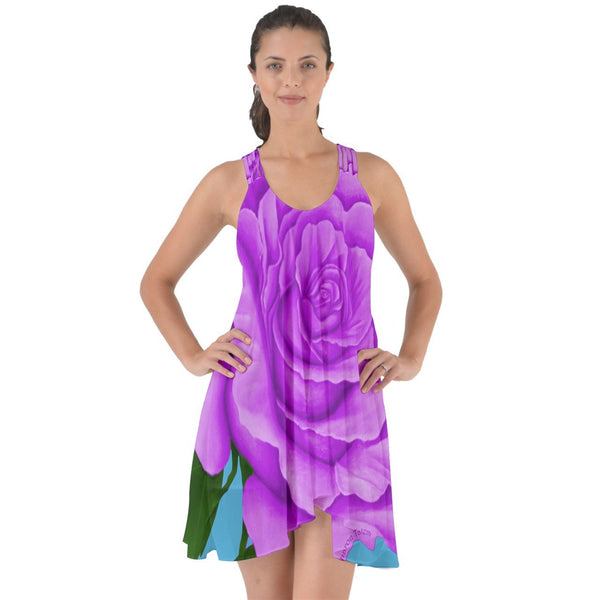 Purple Rose Chiffon Dress Show Some Back Chiffon Dress freeshipping - PuaGme