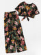 Floral Print Knot Top With Wide Leg Pants freeshipping - PuaGme