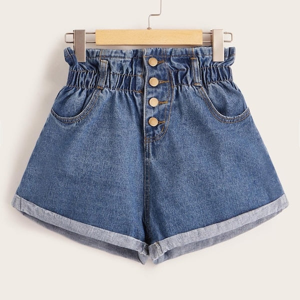 Plus Button Front Cuffed Hem Denim Shorts freeshipping - PuaGme