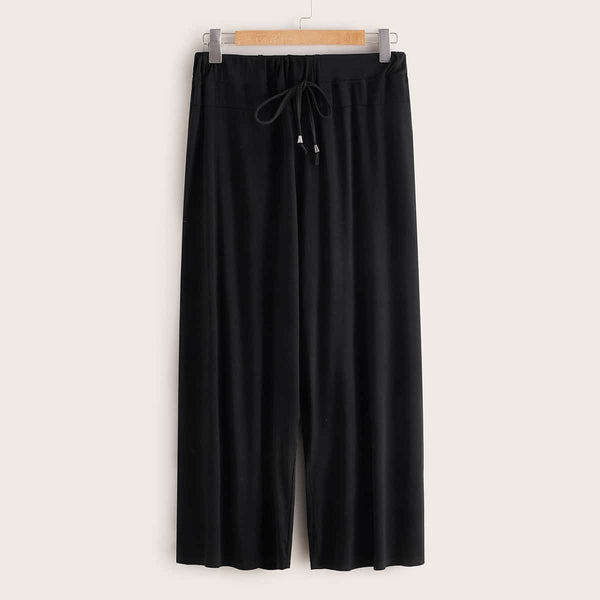 Plus Drawstring Waist Wide Leg Pants freeshipping - PuaGme