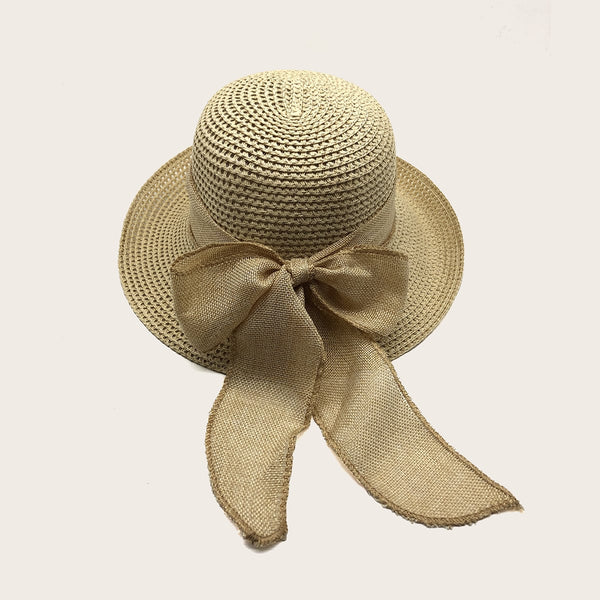 Bow Knot Decor Straw Hat