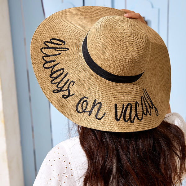Letter Graphic Wide Brim Straw Hat