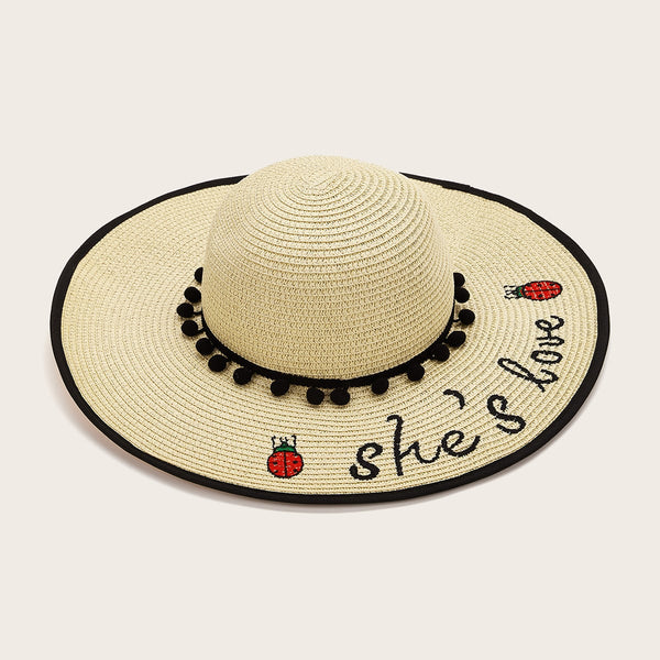 Pom Pom Decor Slogan Embroidery Straw Hat