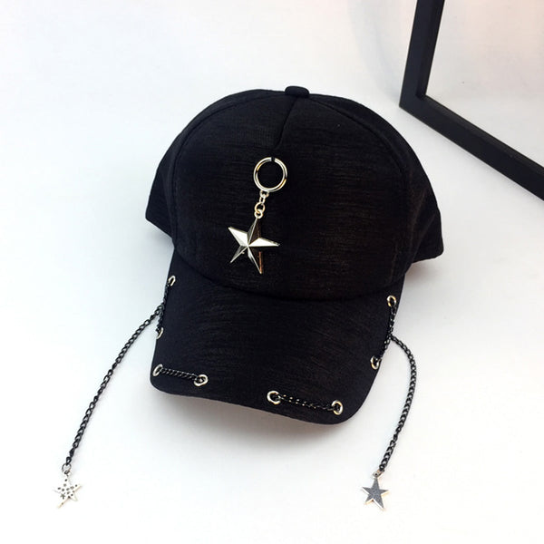 Star & Chain Decor Baseball Cap