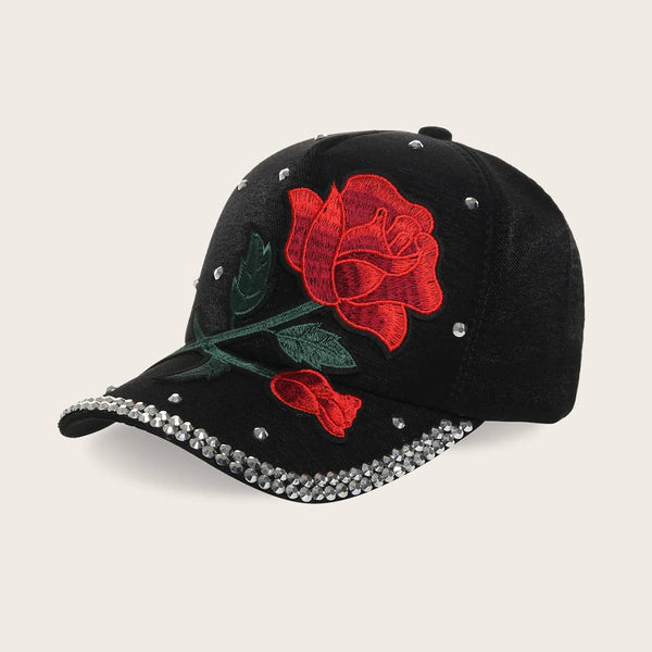 Rivet Decor Floral Embroidery Baseball Cap