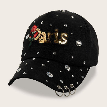 Rhinestone Engraved Floral Embroidery & Hoop Decor Baseball Cap freeshipping - PuaGme