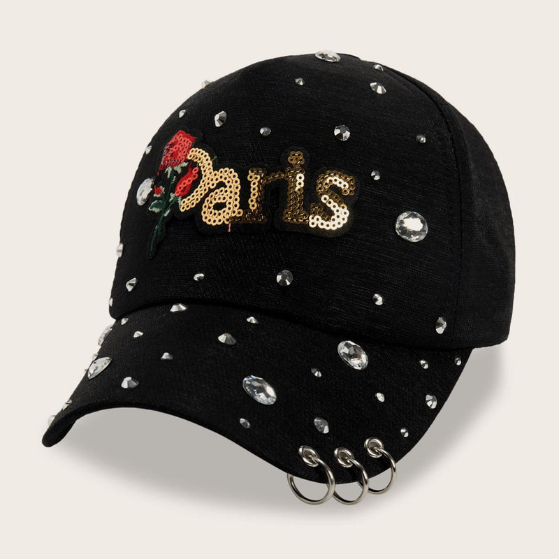 Rhinestone Engraved Floral Embroidery & Hoop Decor Baseball Cap