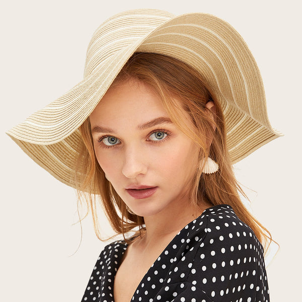 Striped Pattern Straw Hat