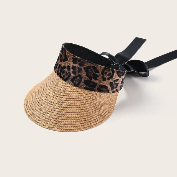 Leopard Pattern Bow Decor Visor Hat
