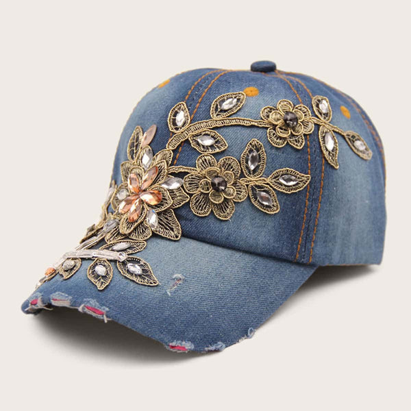 Rhinestone Engraved Applique Baseball Cap
